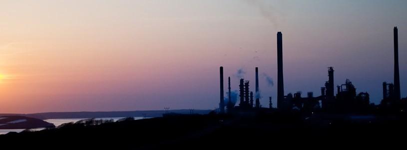 Panarama of Puerto de Castellon -  industrial port  in  Castellon de la Plana in dawn.  Spain