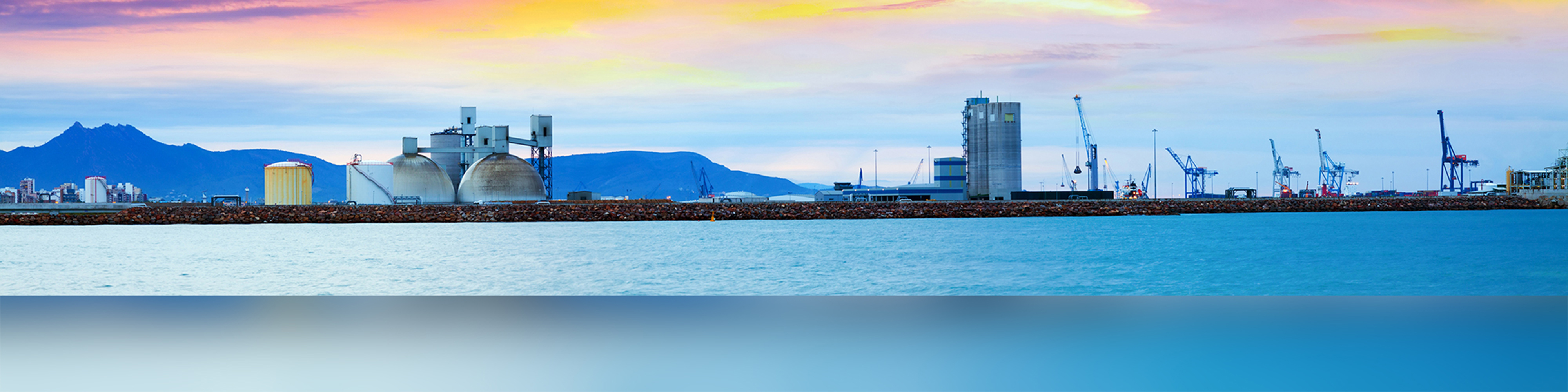 Panarama of Puerto de Castellon -  industrial port  in  Castellon de la Plana in dawn.  Spain